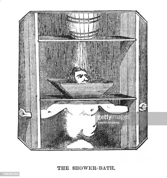 Illustration showing the punishment known as 'The ShowerBath' wherein a convict held in stocks with clamps around ankles wrists and neck suffered...