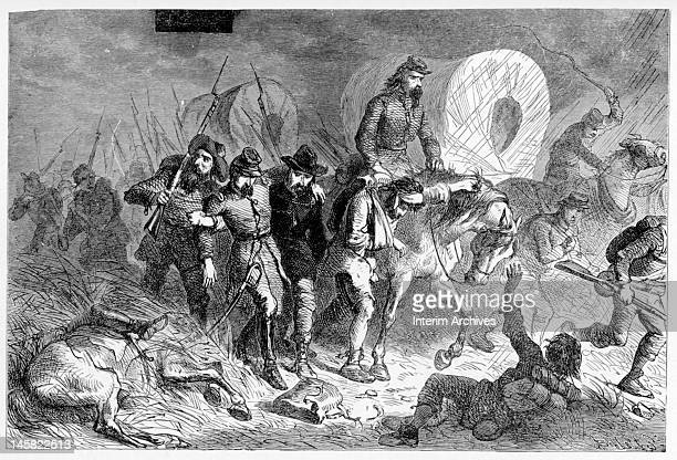 Illustration showing the retreat of the Confederate forces after the Battle of Shiloh also known as the Battle of Pittsburg Landing in Tennessee...