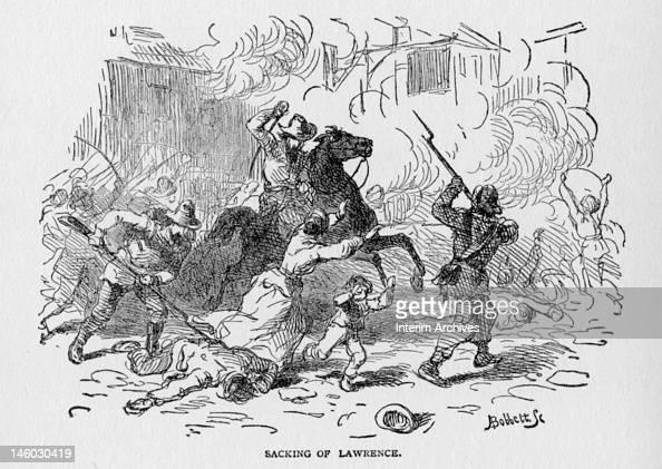 Illustration showing the sacking of Lawrence, Kansas or ... Sack Of Lawrence