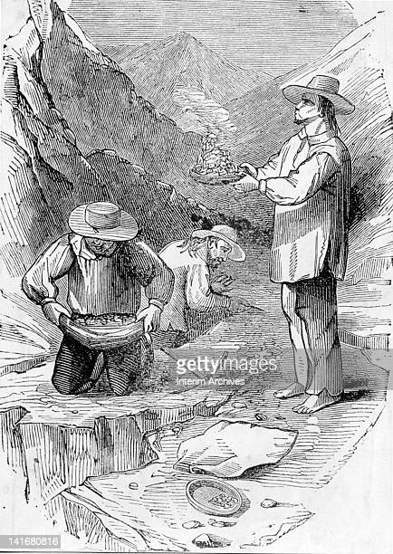 Illustration showing three Mexican Sonorans dry washing gold due to distance of site from water mid nineteenth century Dry washing was a laborious...