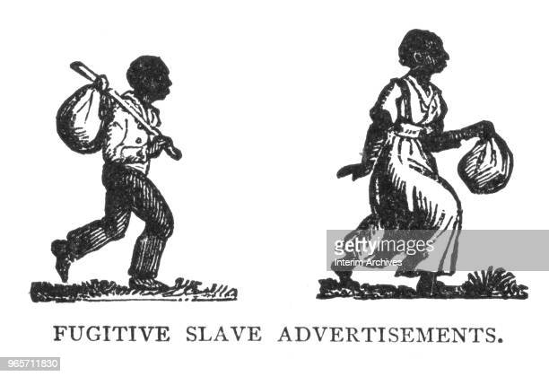 Illustration showing two figures one male and one female used in fugitive slave advertisements early to mid nineteenth century