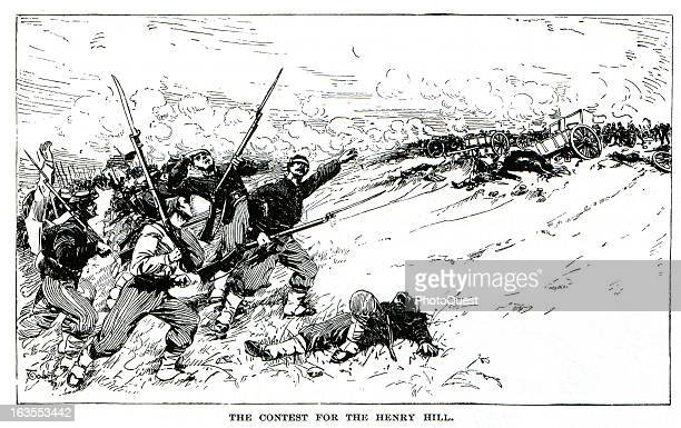 Illustration showing Union forces attacking up Henry Hill during the First Battle of Bull Run Virginia July 21 1861
