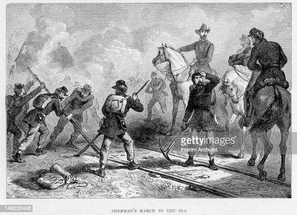 Illustration showing Union troops destroying railroad tracks during General William Tecumseh Sherman's march to the sea Georgia 1864