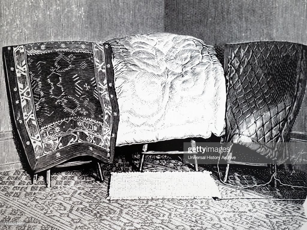 Illustration showing Various models of electric blanket using Camille Herrgott's system. 1904. : News Photo