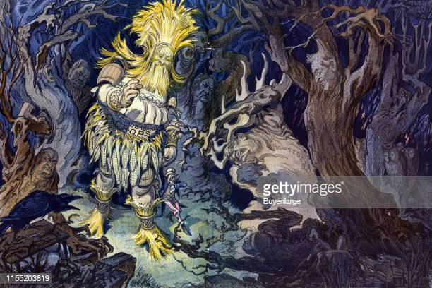 Illustration shows a figure composed of corn and corn stalks labeled 'Record Breaking Crops' walking through a dark wood at night with a diminutive...
