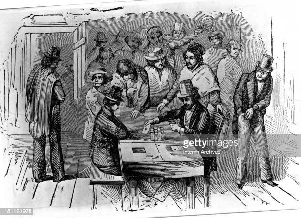 Illustration shows a group of miners as they gamble with their earnings San Francisco California 1850 From 'Frost's Pictorial History of California'...