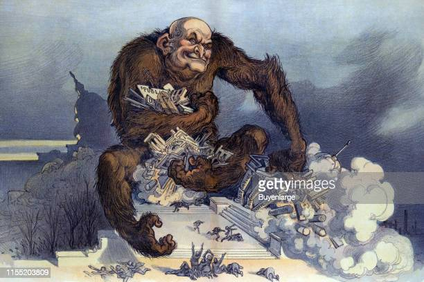 Illustration shows a large gorillalike monster with human head clutching clusters of buildings labeled 'Public Utilities Competition [and] Small...