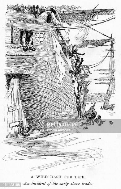 Illustration shows a number of men as they jump from the decks and windows of a slave ship in an attempt to escape their captors eighteenth century...