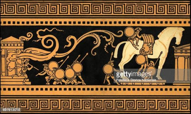 Illustration shows a scene from the Trojan War the horse stratagem and the burning of the city Italy 1911 Inspired by the vase painting the...