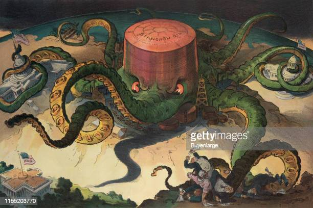 Illustration shows a 'Standard Oil' storage tank as an octopus with many tentacles wrapped around the steel copper and shipping industries as well as...