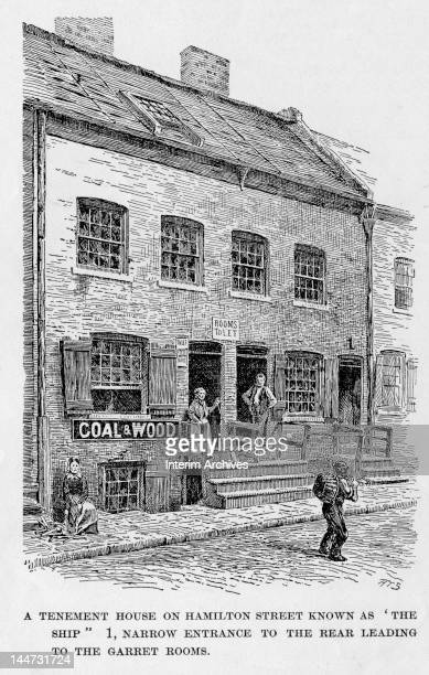 Illustration shows 'a tenement house on Hamilton Street known as 'The Ship' New York New York 1899 The supplied caption further reads '1 narrow...