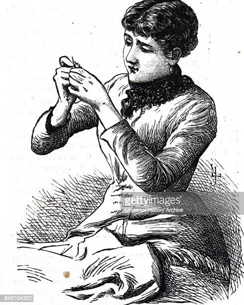 Illustration shows a young lady seated threading a sewing needle Dated 1849