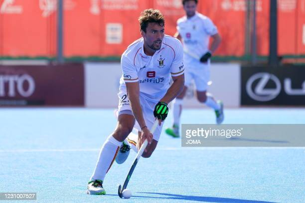 Illustration shows an action at a hockey game between Spain's national team and the Belgian Red Lions, Saturday 06 February 2021 in Valencia, Spain,...