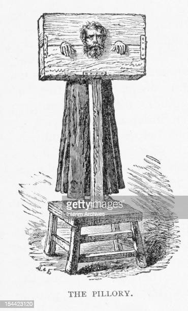 Illustration shows an American colonist punished by use of the pillory a wooden frame that kept the prisoner's hands and head immobile eighteenth...