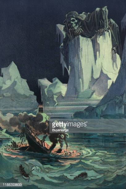 Illustration shows an ocean liner sinking amid icebergs with many passengers jumping into the sea for lack of enough lifeboats as a few lifeboats...
