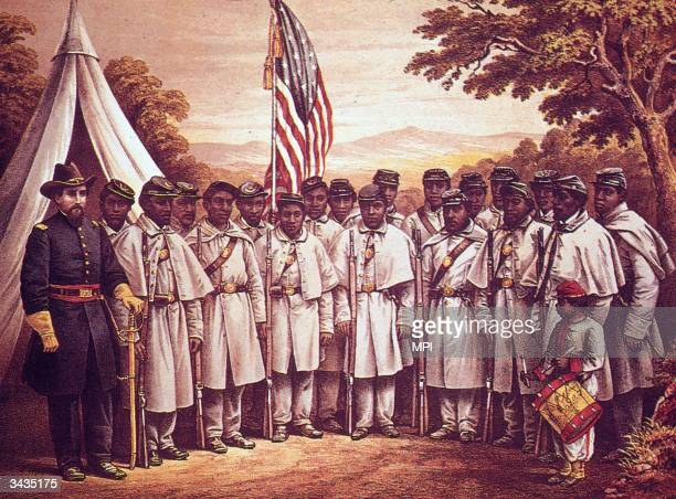 Illustration shows black Union soldiers and their white officer line up for a portrait in fieldcoats outside a tent with a drummer boy as a flag...