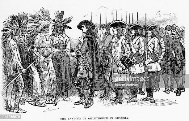 Illustration shows British military commander and politician General James Oglethorpe founder the colony of British colony of Georgia as he stands...