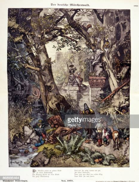 Illustration shows characters from German fairy tales including Hansel and Gretel Snow White and the Seven Dwarfs and Puss in Boots in a forest By...