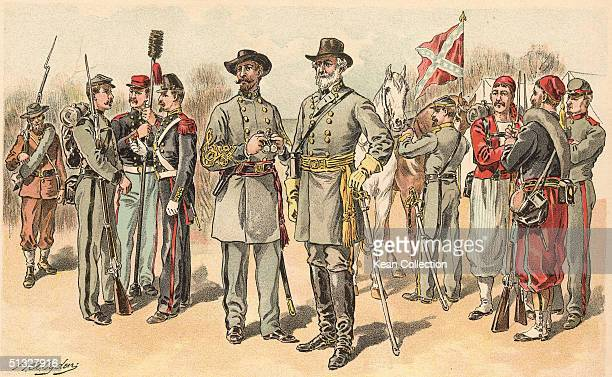 Illustration shows Confederate uniforms of the American Civil War The uniforms shown are North Carolina militia Regular infantry private Washington...