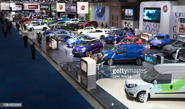 Illustration shows Fiat cars during the opening day of the 97th edition of the Brussels Motor Show at Brussels Expo on Friday 18 January 2019 in...
