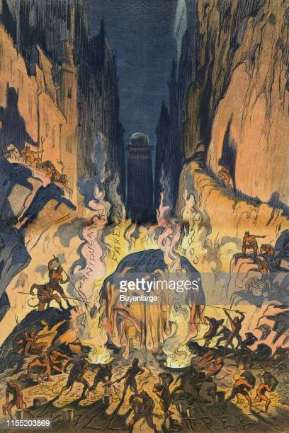 Illustration shows Hell labeled 'Wall Street' where a huge snowball shaped like a human head labeled 'The Public' dripping money melts amid flames...