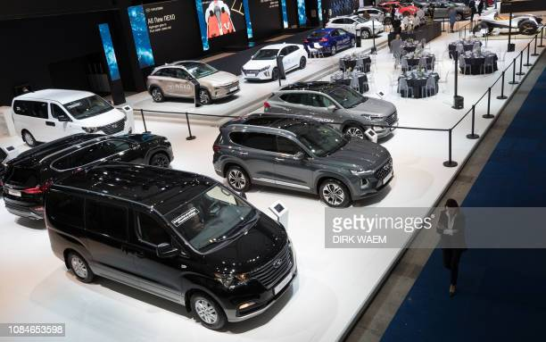 Illustration shows Hyundai cars during the opening day of the 97th edition of the Brussels Motor Show at Brussels Expo on Friday 18 January 2019 in...