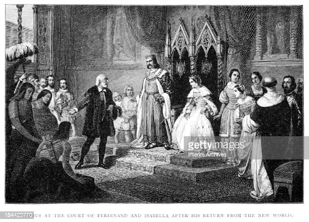 Illustration shows Italian explorer Christopher Columbus as, upon his return from the 'New World' he addresses Spanish King Ferdinand II of Aragon...