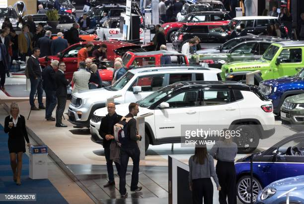 Illustration shows Jeep cars during the opening day of the 97th edition of the Brussels Motor Show at Brussels Expo on Friday 18 January 2019 in...