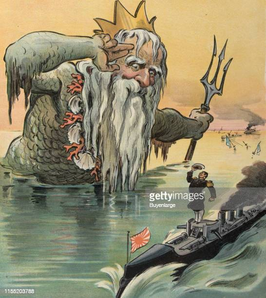 Illustration shows Neptune the Roman god of the sea saluting a Japanese admiral on a gunboat in the background are the ruins of a Russian naval fleet...