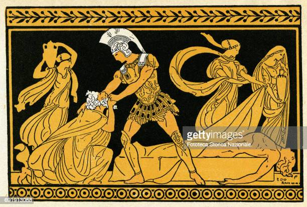 Illustration shows Priam king of Troy as he begs Achilles to leave the body of his son Hector Italy 1911 Inspired by the vase painting the...