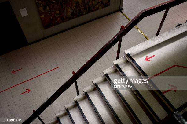 Illustration shows social distancing visuals on the floor in the hall of the justice palace ahead of a session of the assize trial of five accused...