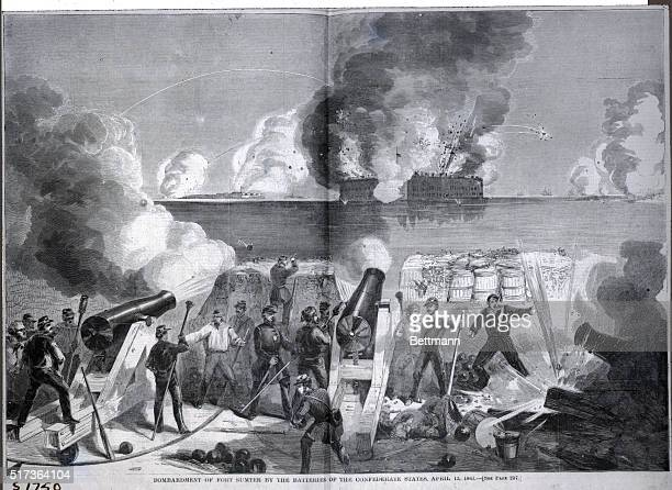 Illustration shows the Bombardment of Fort Sumter by the Batteries of the Confederate States April 13 1861 Undated from Harper's Pictorial History of...