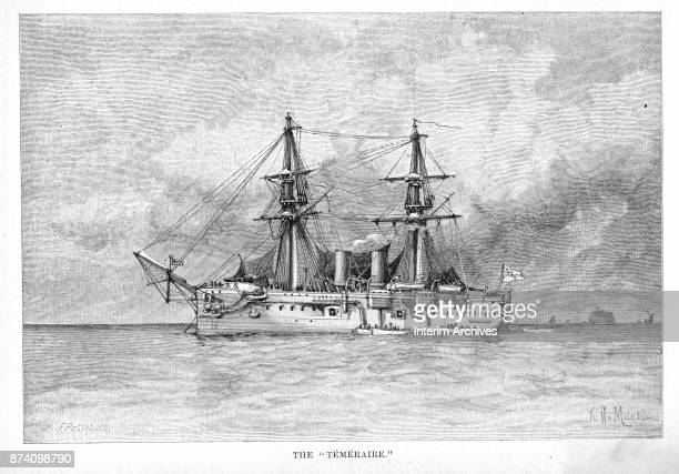 Illustration shows the British Navy's HMS Temeraire an ironclad ship The illustration appeared in the February 1886 edition of Harper's New Monthly...