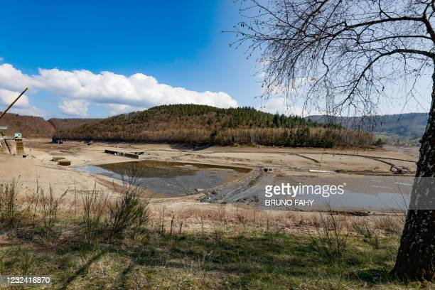 Illustration shows the Coo artificial lake, empty of its water, Tuesday 20 April 2021, in Stavelot. The lake is being emptied to carry out...