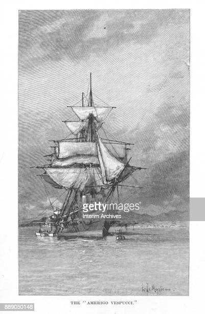 Illustration shows the Italian Navy's ship the Amerigo Vespucci The illustration appeared in the 1888 book 'Modern Ships of War'