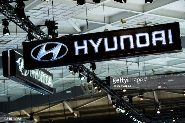 Illustration shows the logo of Hyundai at the #WeAreMobility fair at the 97th edition of the Brussels Motor Show at Brussels Expo on Friday 18...