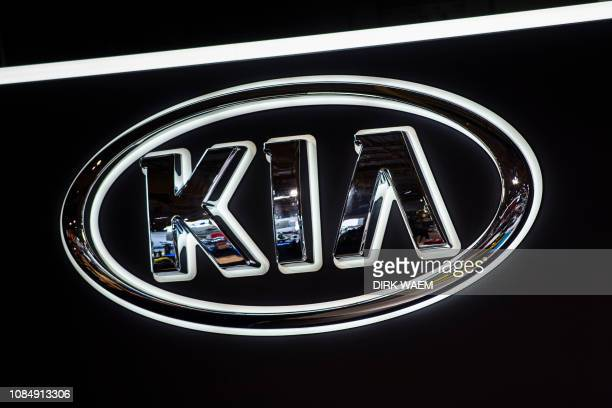 Illustration shows the logo of Kia at the #WeAreMobility fair at the 97th edition of the Brussels Motor Show, at Brussels Expo, on Friday 18 January...