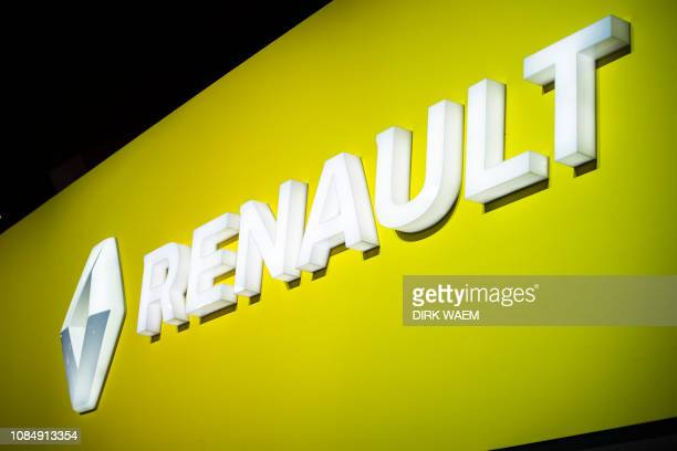 Illustration shows the logo of Renault at the #WeAreMobility fair at the 97th edition of the Brussels Motor Show at Brussels Expo on Friday 18...