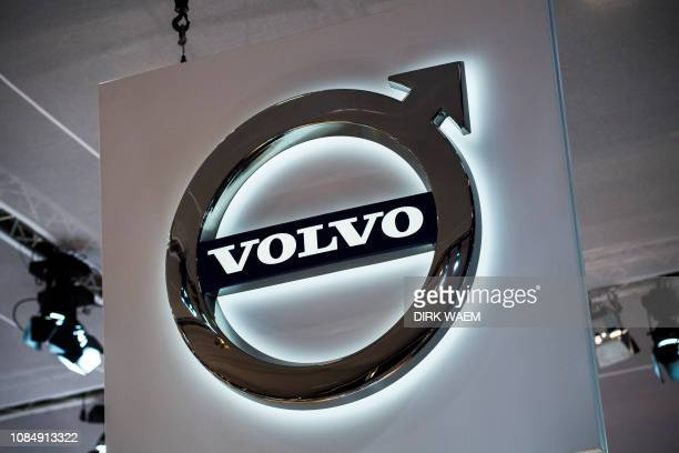 Illustration shows the logo of Volvo at the #WeAreMobility fair at the 97th edition of the Brussels Motor Show at Brussels Expo on Friday 18 January...