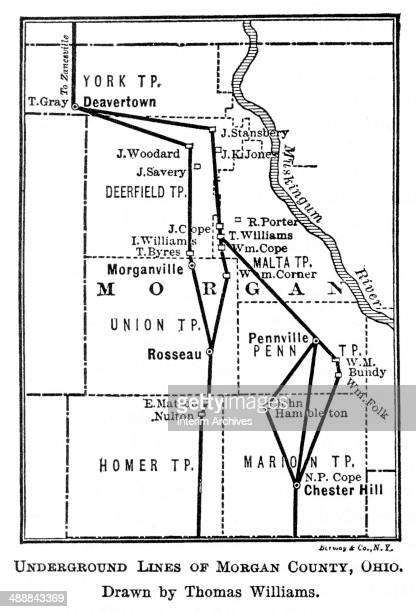 Illustration shows the network of 'Underground Railroad' routes in Morgan County Ohio used by slaves to escape into free states or Canada 1848...