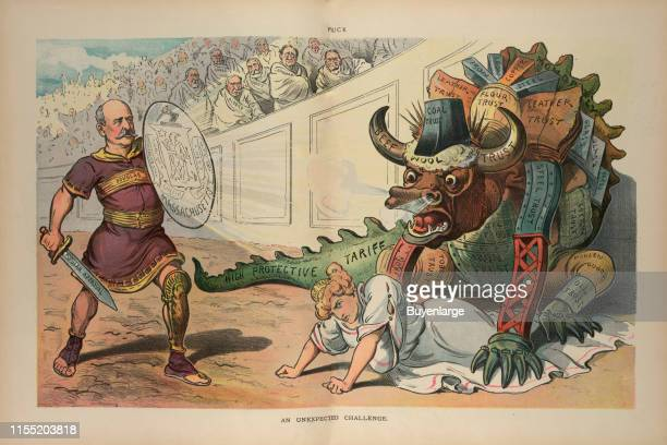 Illustration shows the newly elected Democratic governor of Massachusetts William L Douglas as a gladiator holding a sword labeled 'Popular Approval'...