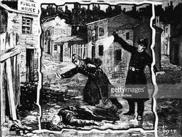 Illustration shows the police discovering the body of one of Jack the Ripper's victims, probably Catherine Eddowes, London, England, late September...