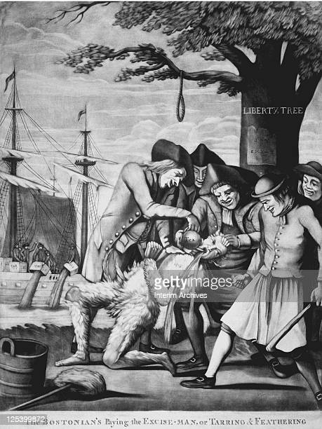 Illustration shows the tarring and feathering of British Customs official John Malcolm by a Boston mob January 1774 Malcolm was an exciseman or tax...