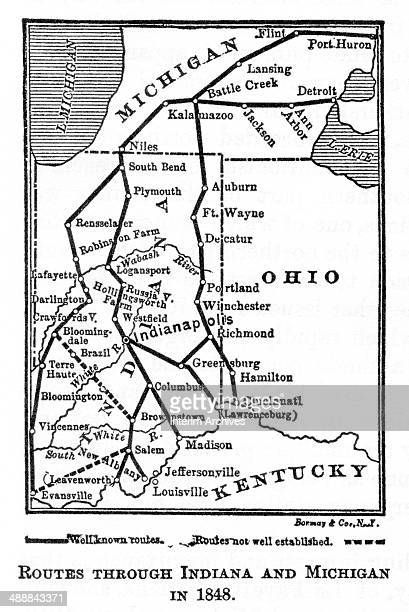 Illustration shows the 'Underground Railroad' routes through Ohio Indiana and Michigan used by slaves to escape to free states and Canada 1848...