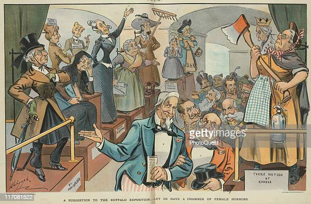 Illustration shows Uncle Sam and John Bull leading a group of world leaders walking in the center aisle between an exhibit of women suffragettes on...
