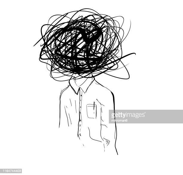 illustration sketch of confused man - illustration stock-fotos und bilder