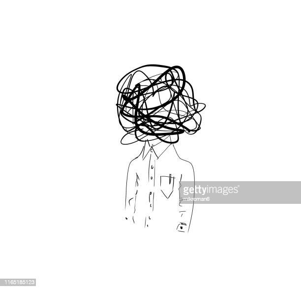 illustration sketch of confused man - art stock pictures, royalty-free photos & images
