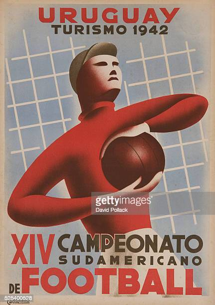 Illustration soccer goalie promoting the 14th South American Championships in Uruguay
