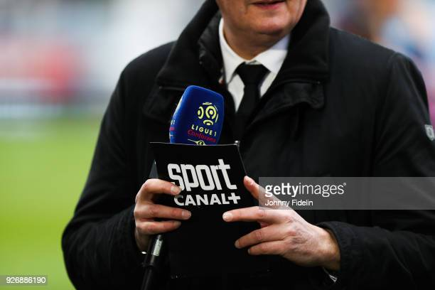 Illustration Sport Canal + during the Ligue 1 match between Troyes AC and Paris Saint Germain at Stade de l'Aube on March 3, 2018 in Troyes, .