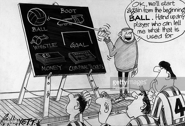 Illustration Sport Football The Roy Ullyett Collection Original pen and ink cartoon drawn for the Daily Express and published on 4th February 1966